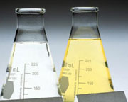 Conical flasks containing liquid