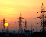 Power pylons at sunset